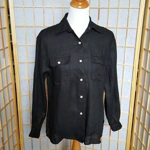 Talbots 100% Linen Button Down Shirt Black Size 6